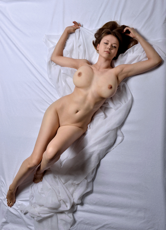 Photo pour Naked beautiful woman with big breast. View from the top high angle. - image libre de droit