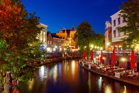 Photo for Oudegracht canal in night illumination at sunset. Utrecht. Netherlands. - Royalty Free Image