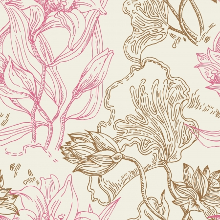 Seamless wallpaper pattern with flowers mural