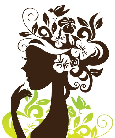 Photo for Beautiful woman silhouette with flowers and bird - Royalty Free Image