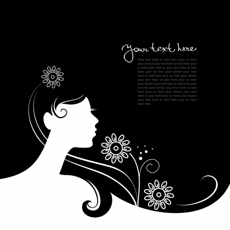 Illustration for Background with beautiful girl silhouette  - Royalty Free Image