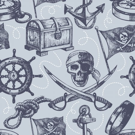 Hand drawn pirate seamless pattern mural