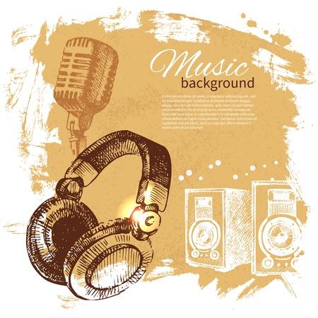 Illustration pour Music vintage background. Hand drawn illustration. Splash blob retro design with headphones - image libre de droit