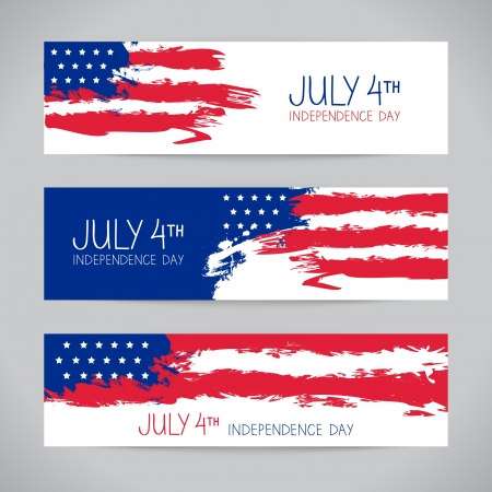 Illustration pour Banners with american flag. Independence Day design - image libre de droit