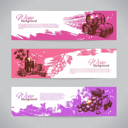 Illustration for Banners of wine vintage background. Hand drawn illustrations - Royalty Free Image