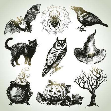 Ilustración de Hand drawn halloween set  - Imagen libre de derechos