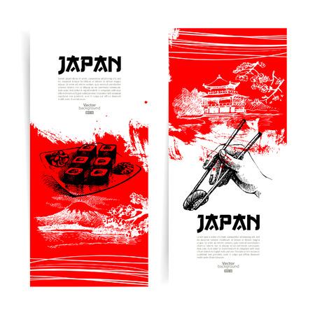 Ilustración de Set of Japanese sushi banners  Sketch illustrations for menu - Imagen libre de derechos