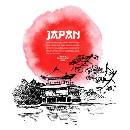 Ilustración de Hand drawn Japanese sushi illustration  Sketch and watercolor  - Imagen libre de derechos