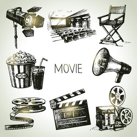 Illustration pour Movie and film set  Hand drawn vintage illustrations - image libre de droit