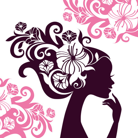Illustration for Beautiful woman silhouette with flowers  - Royalty Free Image