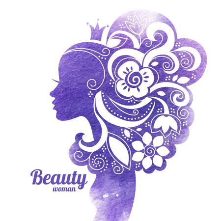 Illustration pour Watercolor beautiful woman silhouette with flowers. Vector illustration  - image libre de droit