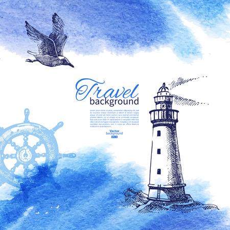 Ilustración de Travel vintage background. Sea nautical design. Hand drawn sketch and watercolor illustration - Imagen libre de derechos