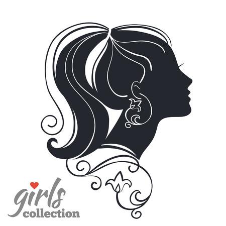Ilustración de Beautiful woman silhouette with flowers. Girls collection - Imagen libre de derechos