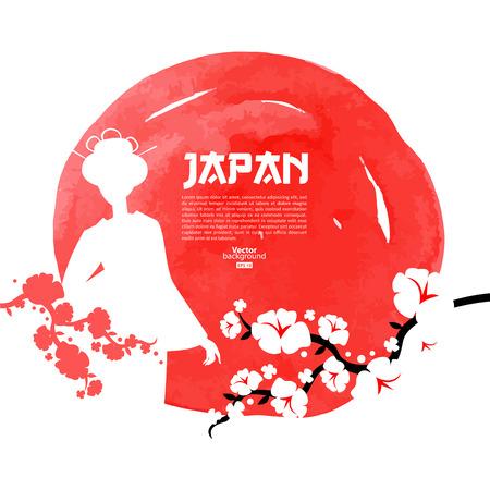 Ilustración de Hand drawn Japanese cherry illustration. Sketch and watercolor template background  - Imagen libre de derechos