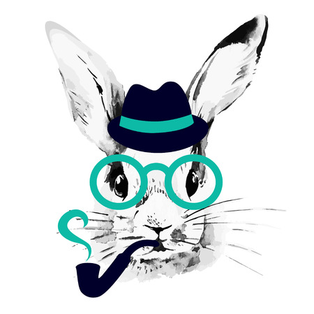 Ilustración de Hipster rabbit. Hand drawn watercolor sketch portrait  - Imagen libre de derechos