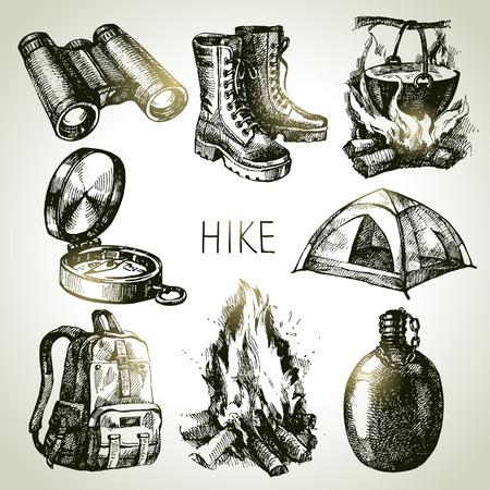 Illustration pour Hike and camping tourism hand drawn set. Sketch design elements - image libre de droit