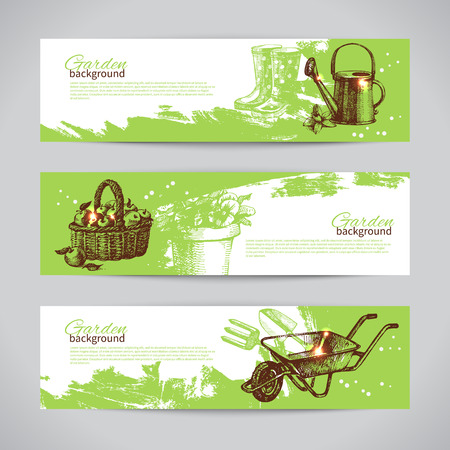 Ilustración de Set of sketch gardening banner templates. Hand drawn vintage illustrations	 - Imagen libre de derechos
