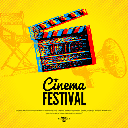 Ilustración de Movie cinema festival poster. Vector background with hand drawn sketch illustrations - Imagen libre de derechos