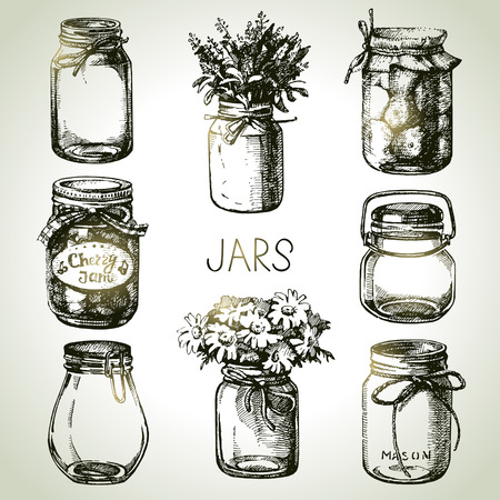 Illustration pour Rustic, mason and canning jars hand drawn set. Sketch design elements. Vector illustrations - image libre de droit