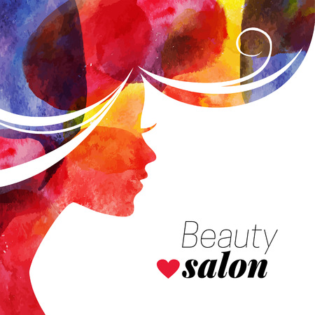 Ilustración de Waterolor beautiful girl. Vector illustration of woman beauty salon - Imagen libre de derechos