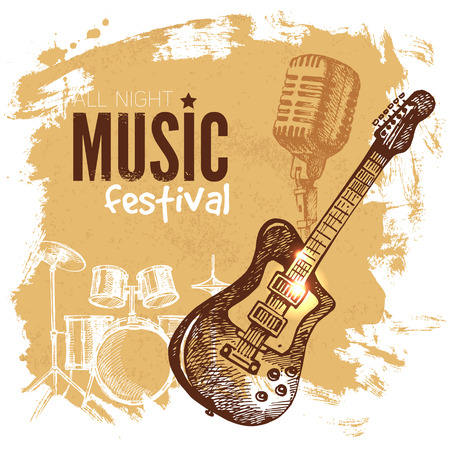 Ilustración de Music vintage background. Splash blob retro design. Music festival poster. Hand drawn sketch vector illustration - Imagen libre de derechos