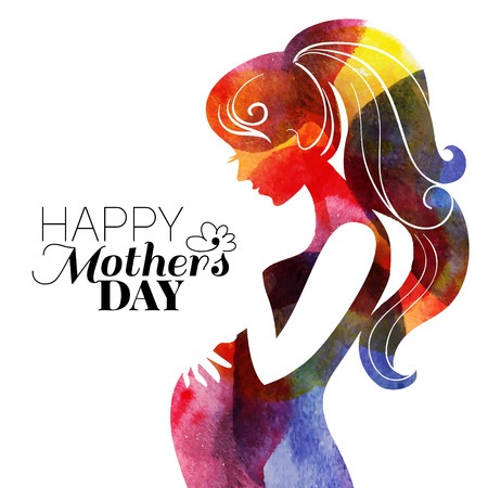 Illustration pour Waterсolor beautiful pregnant woman. Vector illustration	 - image libre de droit