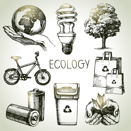 Illustration pour Sketch ecology set. Hand drawn vector illustration	 - image libre de droit