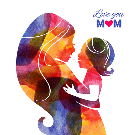 Illustration pour Watercolor mother silhouette with her baby. Card of Happy Mothers Day. Vector illustration with beautiful woman and child - image libre de droit