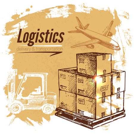 Foto per Sketch logistics and delivery background. Hand drawn vector illustration - Immagine Royalty Free