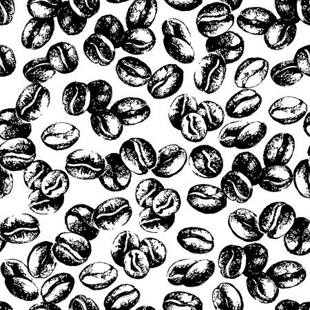 Ilustración de Hand drawn sketch vintage coffee beans seamless pattern. Vector illustration. Background for cafe and restaurant menu design - Imagen libre de derechos