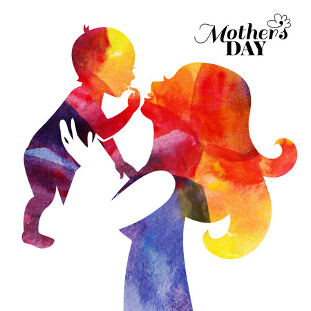 Illustrazione per Watercolor mother silhouette with her baby. Card of Happy Mothers Day. Vector illustration with beautiful woman and child - Immagini Royalty Free