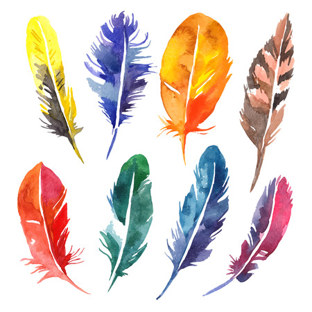 Ilustración de Watercolor feather set. Hand drawn vector illustration - Imagen libre de derechos