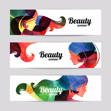 Illustration pour Set of banners with watercolor beautiful girl silhouettes. Vector illustration of woman beauty salon design - image libre de droit