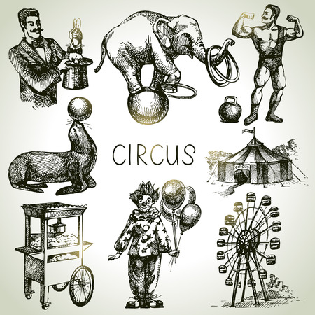 Ilustración de Hand drawn sketch circus and amusement vector illustrations. Vintage icons - Imagen libre de derechos