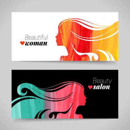Illustration pour Set of banners with acrylic beautiful girl silhouettes. Vector illustration of painting woman beauty salon design - image libre de droit