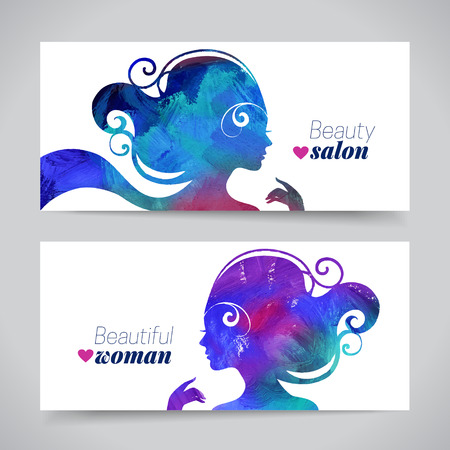 Photo for Set of banners with acrylic beautiful girl silhouettes. Vector illustration of painting woman beauty salon design - Royalty Free Image
