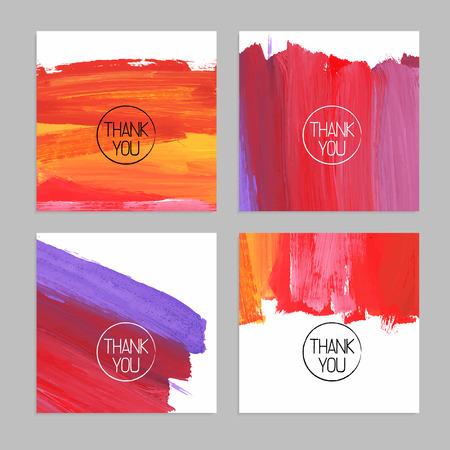 Ilustración de Set of abstract hand drawn acrylic backgrounds. Vector illustration. Thank you cards - Imagen libre de derechos
