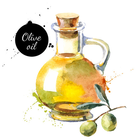 Ilustración de Olive bottle vector illustration. Hand drawn watercolor painting on white background - Imagen libre de derechos
