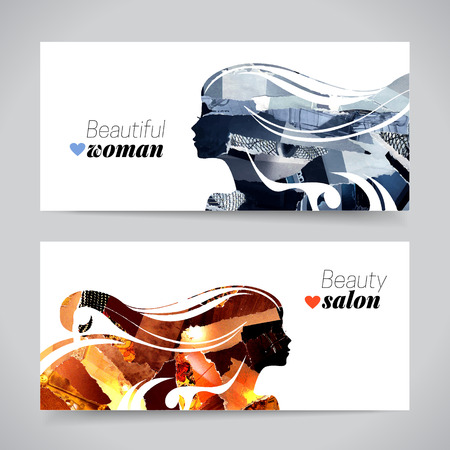 Illustration pour Set of banners with magazine snippets collage beautiful girl silhouettes. Vector illustration of painting woman beauty salon design - image libre de droit