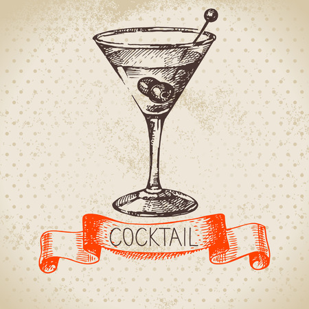 Hand drawn sketch cocktail vintage background. Vector illustration mural