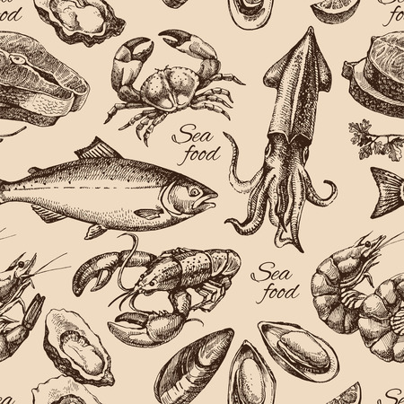 Illustrazione per Hand drawn sketch seafood seamless pattern. Vintage style vector illustration - Immagini Royalty Free