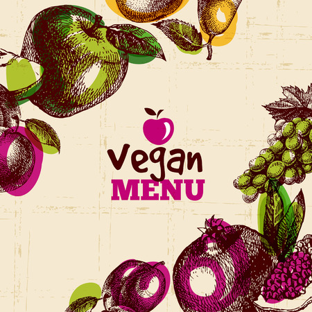 Photo for Eco food vegan menu background. Watercolor and hand drawn sketch fruits. Vector illustration - Royalty Free Image