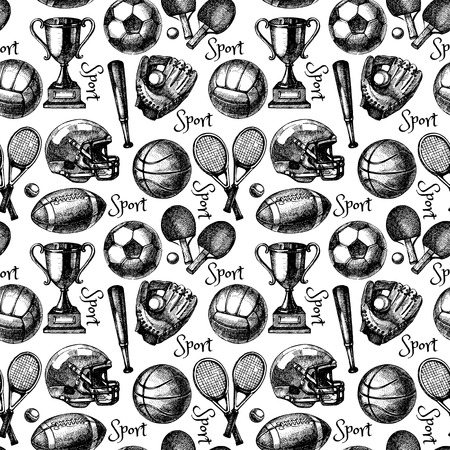 Ilustración de Hand drawn sketch sport seamless pattern with balls. Vector illustration - Imagen libre de derechos