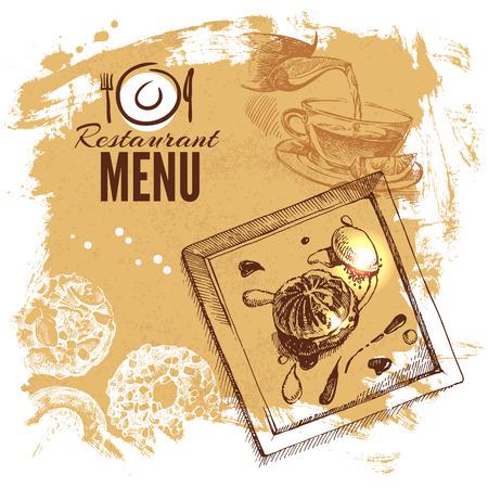 Illustration pour Hand drawn sketch restaurant food set. European cuisine menu. Vector illustration - image libre de droit