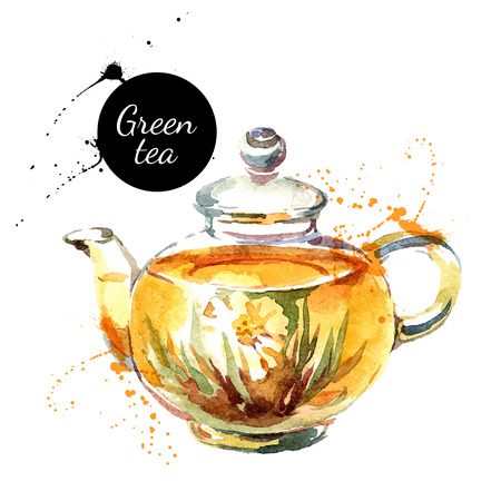 Ilustración de Watercolor hand drawn painted tea vector illustration. Menu design - Imagen libre de derechos