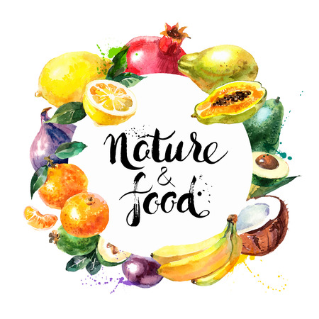 Ilustración de Eco food menu background. Watercolor hand drawn fruits. Vector illustration - Imagen libre de derechos