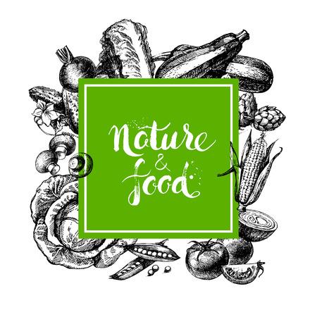 Photo for Eco natural food menu background. Sketch hand drawn vegetables frame. Vector illustration - Royalty Free Image