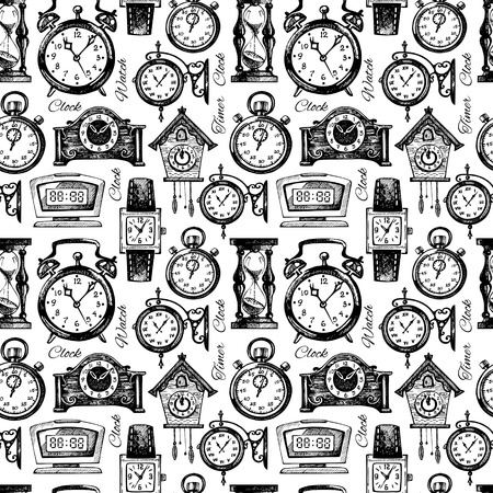 Illustration pour Hand drawn clocks and watches. Vintage hand drawn sketch seamless pattern. Vector illustration - image libre de droit