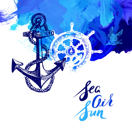 Illustration pour Travel marine background. Sea and ocean nautical design. Hand drawn sketch and acrylic illustration - image libre de droit