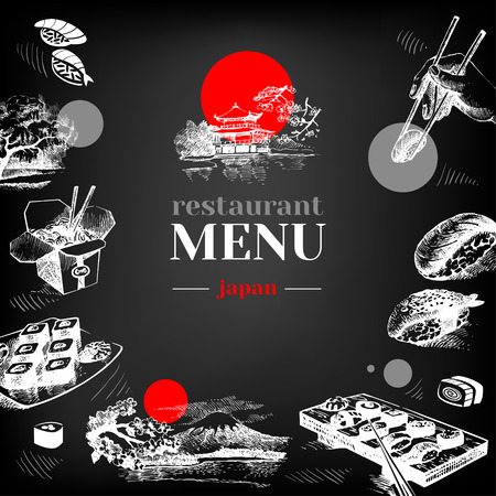 Photo for Restaurant chalkboard Japanese food menu. Hand drawn sketch sushi vector illustration - Royalty Free Image